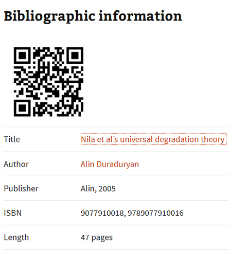 Bibligraphic Information - Nila et al's Universal Degradation Theory